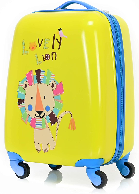 BONTOUR Kinderkoffer Reisekoffer Mit Cartoonfigur 4 Rollen Trolley Kindergep/äck f/ür Jungen und M/ädchen L/öwe