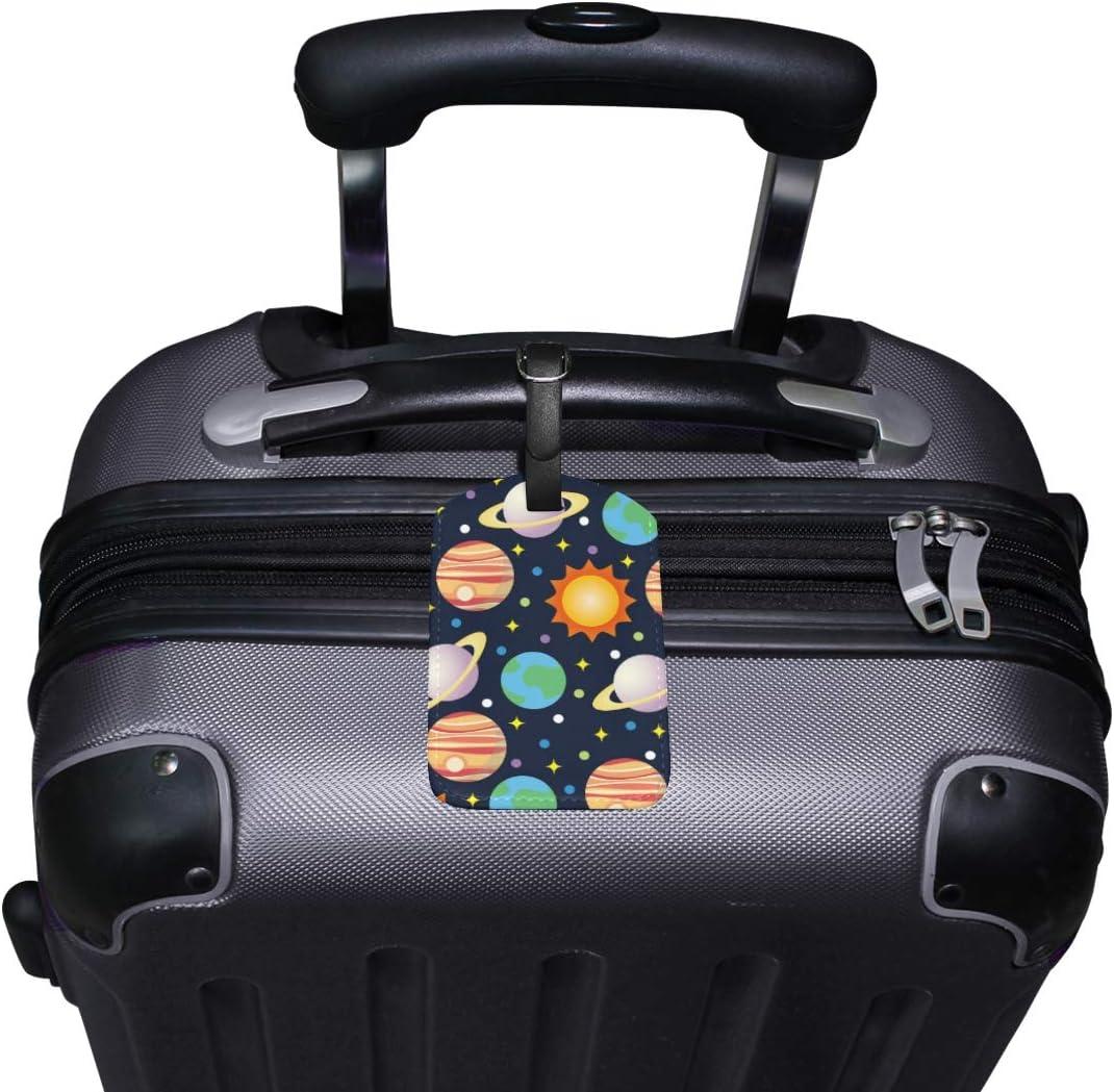 AJINGA Print Unicorn Purple Luggage Tag Travel ID Label Leather for Baggage Suitcase Carry-on Id 1 Piece