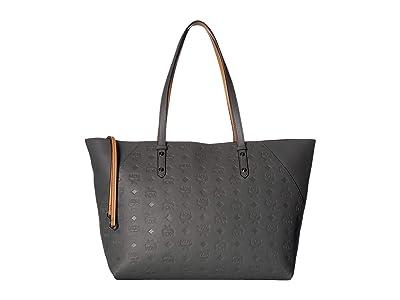MCM Klara Monogrammed Leather Shopper Medium (Charcoal) Handbags