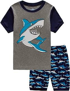 Little Boys 2 Piece Short Pajamas Train Shark Sleepwear 100% Cotton Toddler Dinosaur Pjs Summer Kids Clothes 2-7T
