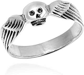 Funky Skull Angel Wing Wrap .925 Sterling Silver Ring