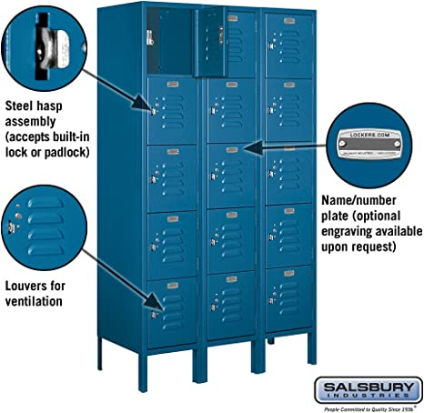 Amazon Com Salsbury Industries 65355bl U Five Tier Box Style 36 Inch Wide 5 Feet High 15 Inch Deep Unassembled Standard Metal Locker Blue Home Improvement