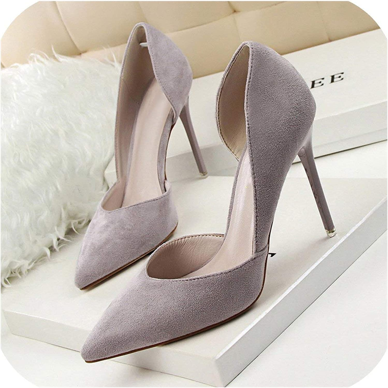 Sexy Side Cut-Outs Women Pumps Concise Solid Flock Shallow Pointed Toe High Heels 10Cm shoes