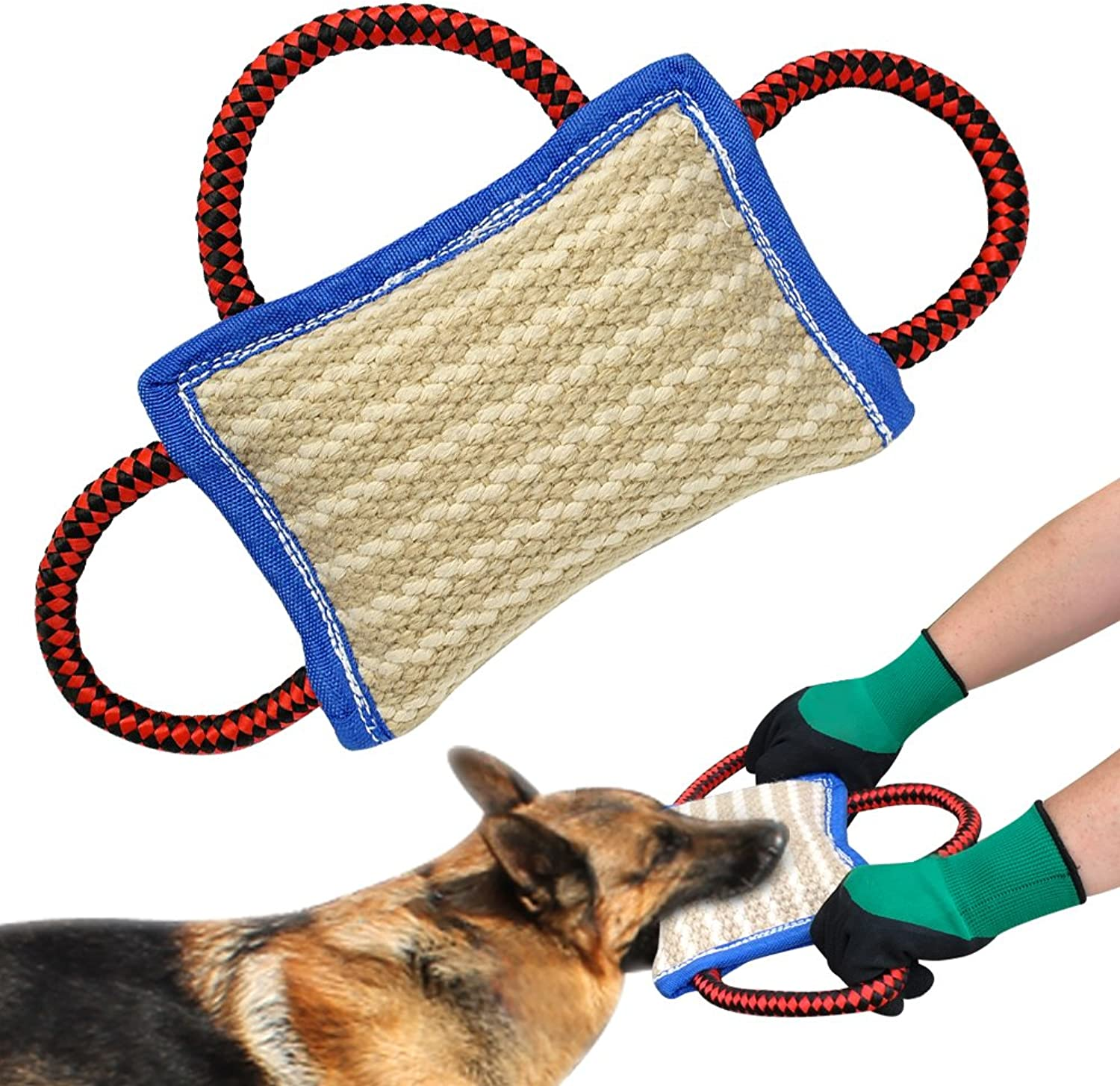 PET ARTIST 3 Handles Jute Bite Pillow 9.5  6.5 Linen Tug Toy for Young Dogs