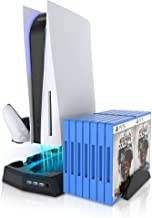 KIWIHOME PS5 Soporte de refrigeración, PS5 Accesorios Soporte con ventilador de refrigeración de succión y estación de cargador de doble controlador para consola Playstation 5 PS5, 3 puertos USB y 14 ranuras de juego para PS5 Digital y Disc Edition