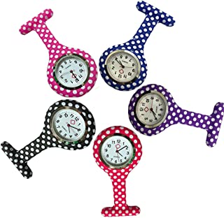 Dot Silicone Nurse Lapel Watch Doctor Medical Brooch Analog Quartz Fob Pocket Pin Watch for Women (Pack of 5)