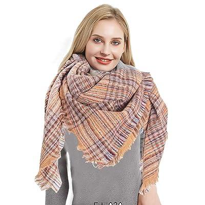 Womens Plaid Tassel Scarf Fall Winter Classic W...