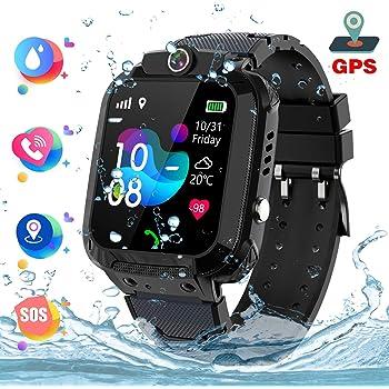 Montre Intelligente pour Enfants Étanche - Kids Smart Watch GPS Tracker Positionnement Téléphon Appel d'urgence SOS Clôture électronique Appareil Photo Réveil PodometreChat Vocal Jeu, Noir