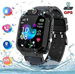 Reloj inteligente para niños a prueba de agua IP67, GPS Rastreador Reloj anti-perdida de teléfonos inteligentes, de llamada bidireccional SOS y juegos de matemáticas - regalo para niños, Black