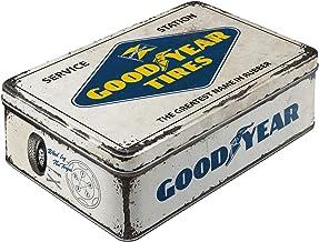 Nostalgic-Art 30745 Retro förvaringsburk platt Goodyear – logo – presentidé för bil- och motorcykelfans, plåtburk med loc...