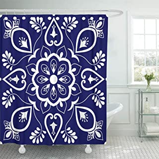 SPXUBZ Ornaments with Blue and White Floral Motifs Portuguese Azulejo Mexican Talavera Shower Curtain Waterproof Bathroom Decor Polyester Fabric Curtain Sets with Hooks