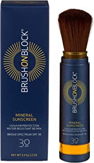 Brush On Block Mineral Sunscreen Powder, Refillable Broad-Spectrum SPF 30, Safe for Sensitive Skin, UVA UVB Face Protection, Natural, Reef Friendly (Translucent)