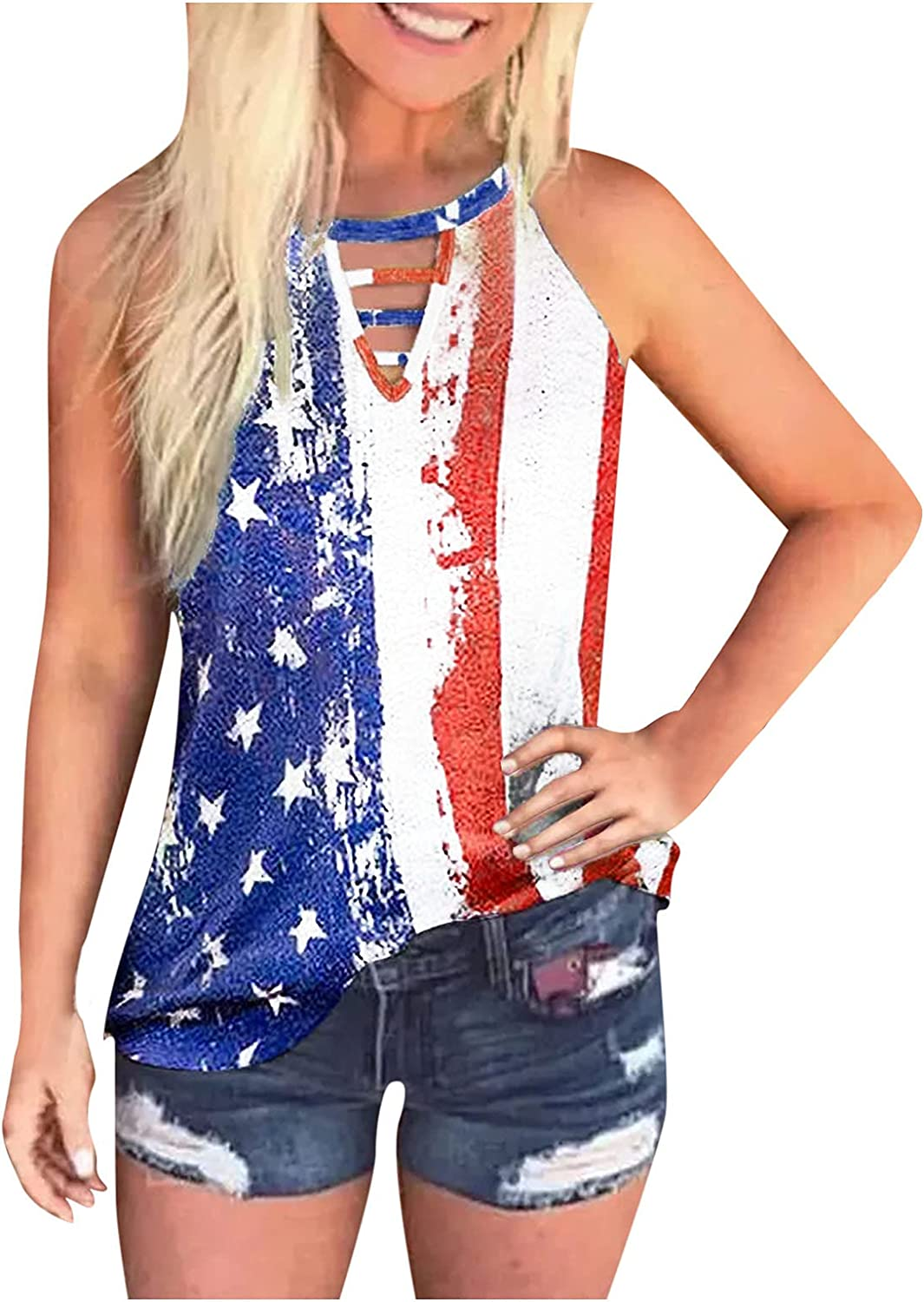 Aukbays Summer Tank Tops for Women, Casual Sleeveless Loose Fit Cut Out Tank Graphic Tees Shirts Blouses Vest Crop Tops
