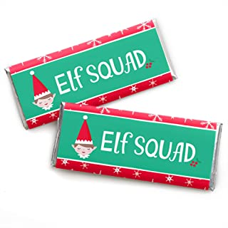 Big Dot of Happiness Elf Squad - Candy Bar Wrapper Kids Elf Christmas and Birthday Party Favors - Set of 24