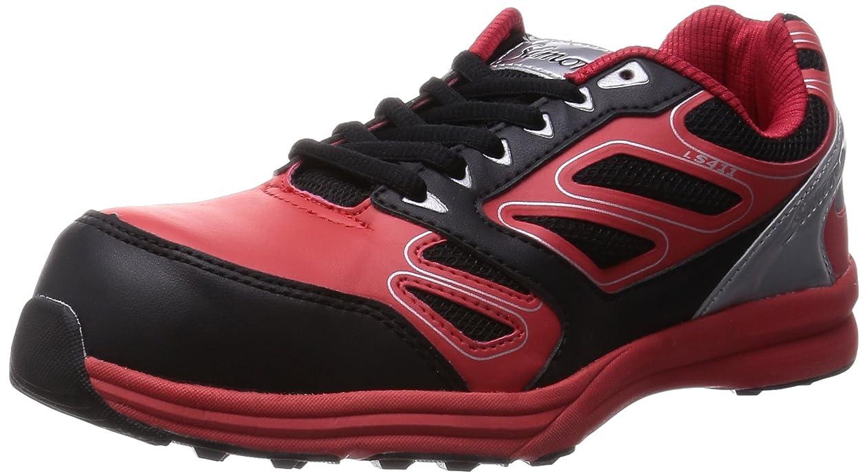 ホール異なる巧みな[シモン] プロスニーカー 短靴 JSAA規格 耐滑 軽快 スニーカー 紐 LS411レッド/ブラック