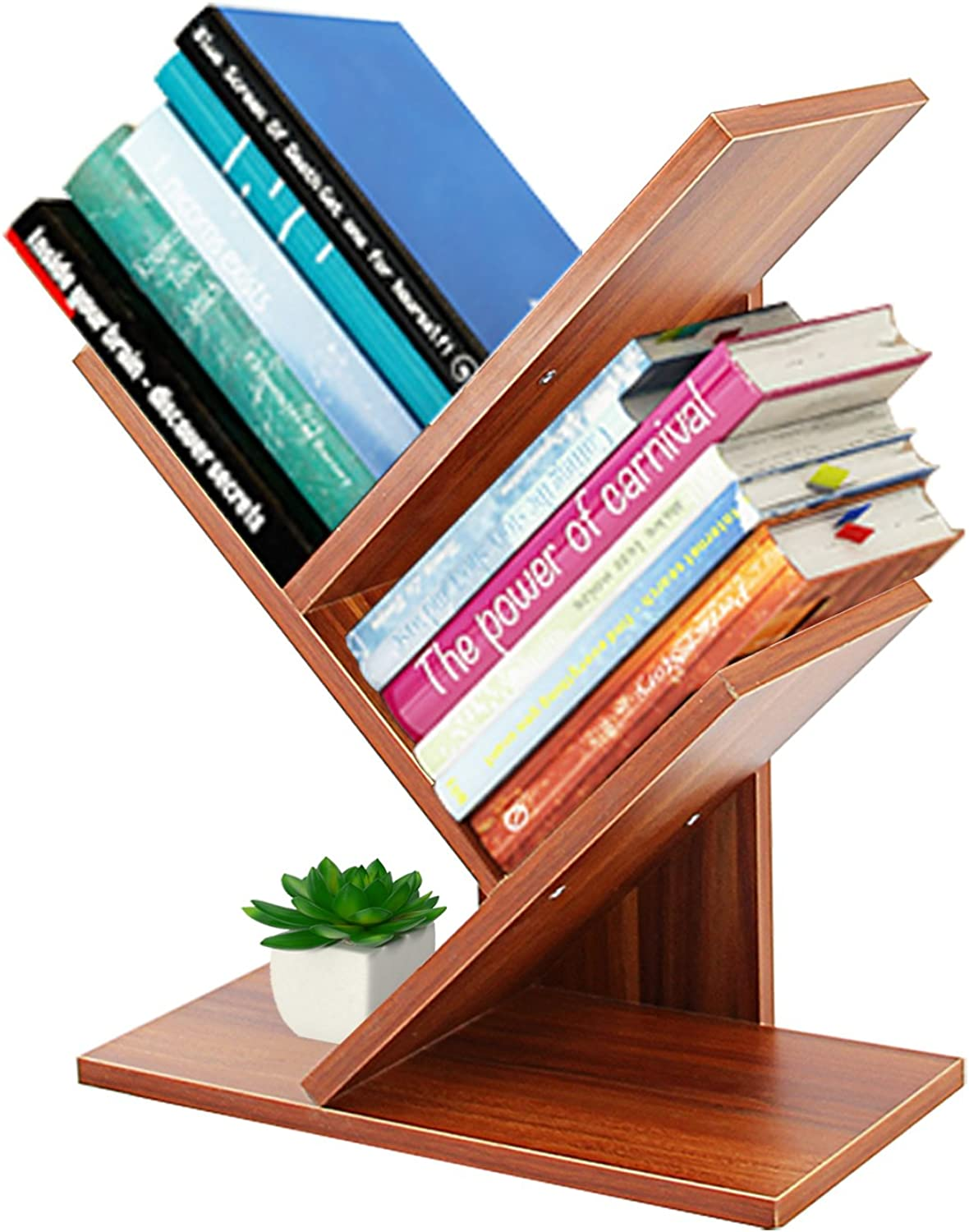 DL Furniture - 4 Tiers Tree Shaped Book Storage Organizer Freestanding Bookshelves   Natural Wood