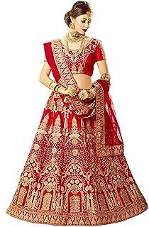 فستان ليهينغا شولي للسيدات من الحرير الأحمر نصف مخيط