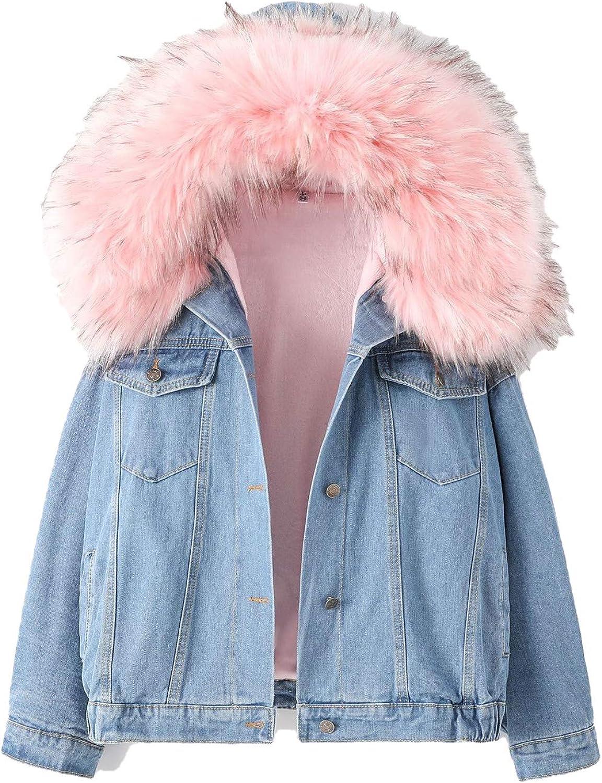 Faux Fur Lining Hooded Denim Women's Jacket Thick Warm Winter Vintage Loose Pocket Parkas Outwear