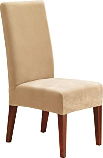 Sure Fit Home Décor Stretch Pique Short Dining Room Chair One Piece Slipcover, Form Fit, Polyester/Spandex, Machine Washable, 42 Inch Tall, Cream