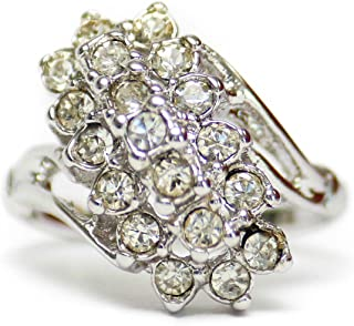 Providence 复古珠宝透明施华洛世奇水晶 18K 白金电镀簇环