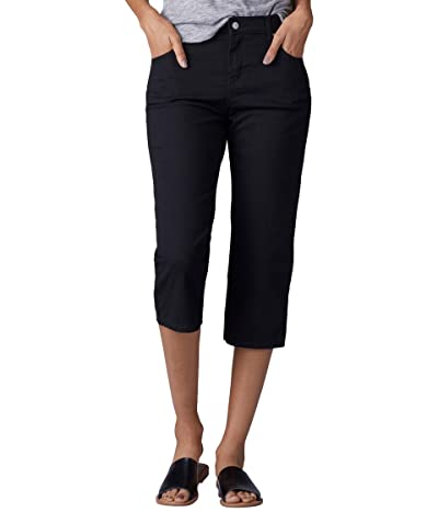 Lee Relaxed Fit Austyn Knit Waist Cargo Capris (Black 1) Women