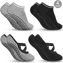Zacro 4Pcs Calcetines-Yoga Antideslizantes de Mujeres Deportivos para Ejercicio Interior,Cómodo Pilates,Yoga,Ballet,Baile,Fitness,etc (Negro y Gris)