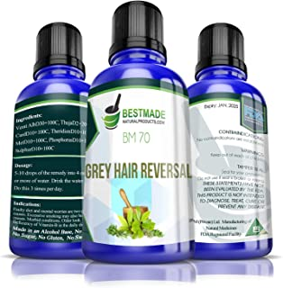 Grey Hair Reversal BM70, 30mL, Effective, Natural Treatment for Premature Greying & Greying due to Stress and Illness