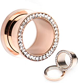 Screw Fit Rose Gold PVD Plated with Multigem Clear CZ WildKlass Plugs