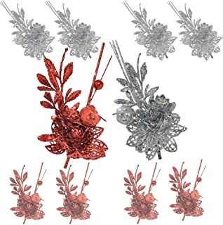 Red and Silver Christmas Sprays - Set of 10 Twigs with Alligator Clips Attached - Artificial Poinsettia Flowers and Fern Design