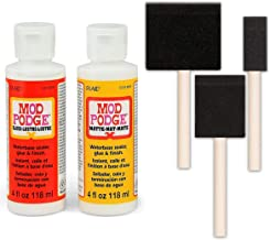 Mod Podge Decoupage Starter Kit Bundle, Gloss and Matte Medium with 3 Pixiss Foam Brushes 1-Inch, 2-Inch, 3-Inch
