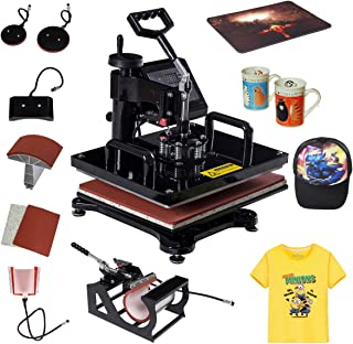 Tangkula 6 in 1 Heat Press Machine Digital Transfer Sublimation T-Shirt Mug Hat Plate Cap
