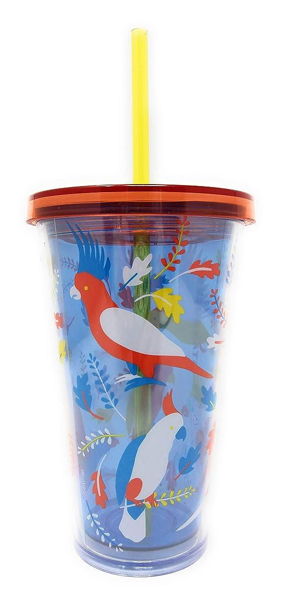 Starbucks 2018 Iced Grande SUMMER Tumbler Orange & Blue 16 oz Cockateil Birds NWT