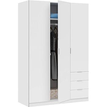 Habitdesign LCX353O - Armario ropero Tres Puertas y Tres cajones, Acabado Color Blanco, Medidas 200x135x52 cm de Fondo: Amazon.es: Hogar
