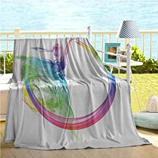 Mademai Abstract Home Decor Collection Throw Blankets,Smoke Dance Shape Silhouette of Dancer Ballerina Rainbow Colors Fantasy Image,Big Blanket Blue Yellow 50