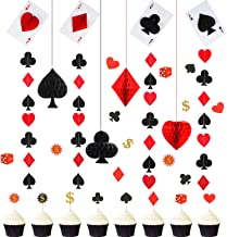 Juego de Decoración de Fiesta de Casino, 48 Adornos de Magdalenas en Póker Toppers de Vegas Juego Temático, 4 Bolas de Panal de Papel, 4 Guirnaldas de Tarjeta de Póker para Cumpleaños