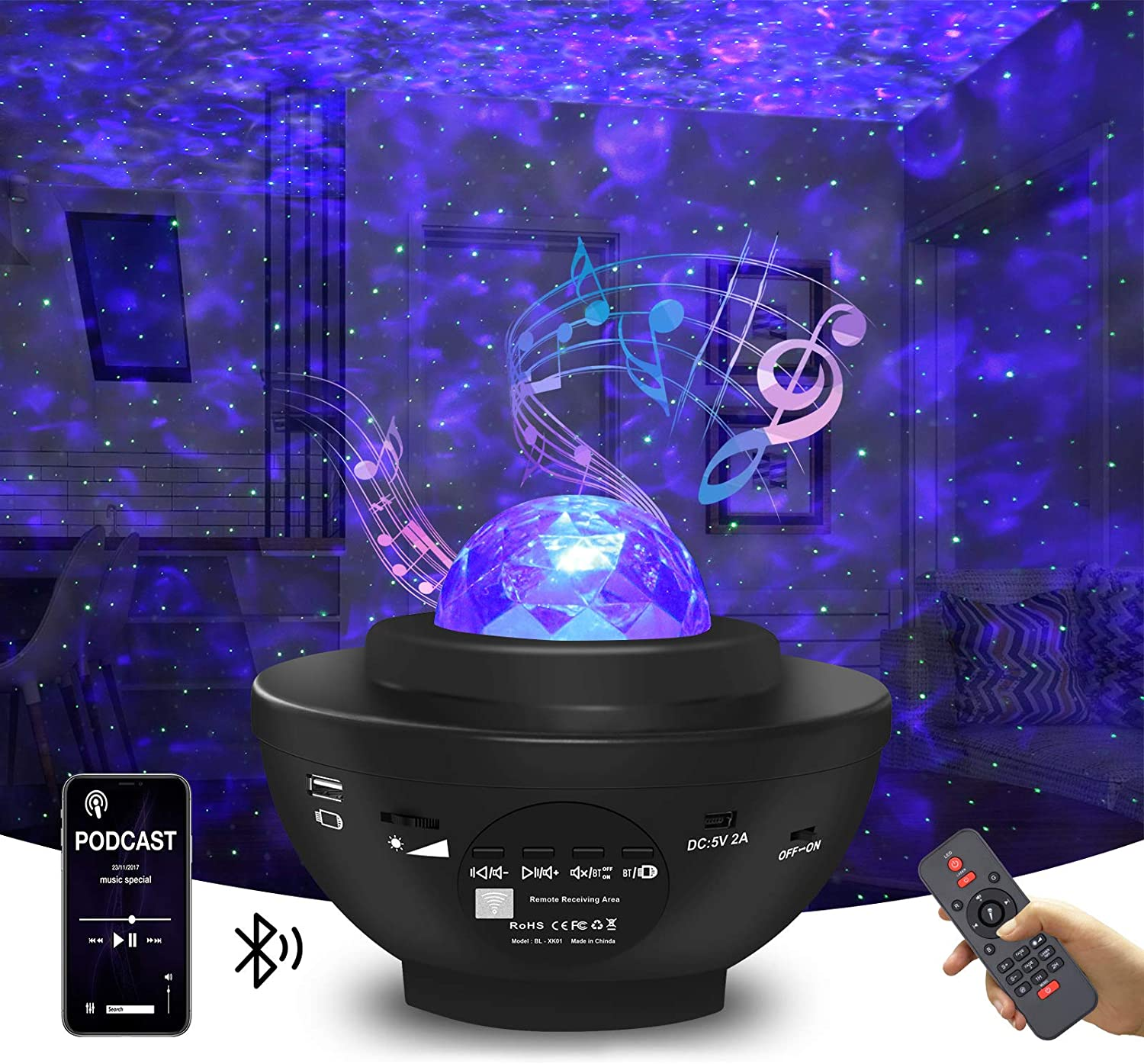 Star Projector Galaxy Projector Night Light for Bedroom Sky with Music Speaker and Remote Control LED Nebula Cloud & Moving Ocean Wave for Bedroom Game Rooms Home Theatre