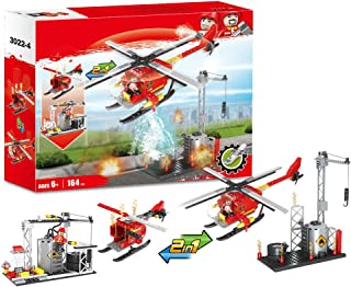 Boys City Helicopter Fire Station Fire Engine Set Vehicles Juniors Present Blocks Building Blocks Xmas Gifts Construction Toys Brick Fire Truck Fire Fighter 164pcs
