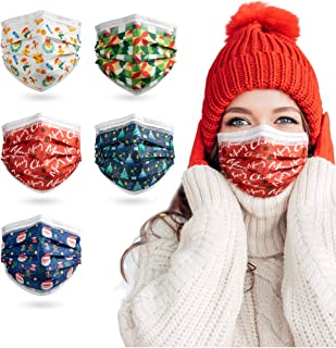 Christmas Face Masks, 3 Layer Disposable Face Masks with Nose Clip and Ear Loops Multicolored (Pack of 50)