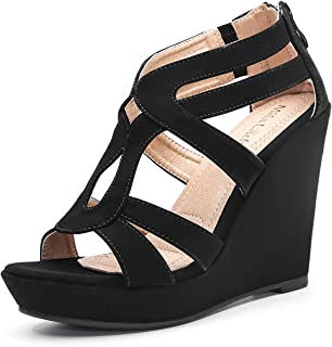 Mila Lady Lisa 5 Zippered Strappy Open Toe Platform Wedges Heeled Sandals Shoes for Women