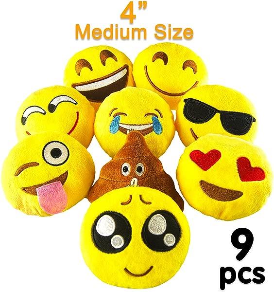 Pawliss Emoji Mini Stuffed Plush Toy Emoticon Throw Pillow Cushion 9 Pack