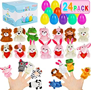 Aitbay 24 Pack Filled Easter Eggs Toys Prefilled with Mini Stuffed Animals and Finger Puppets, Surprise Gift for Easter Theme Party Favors, Easter Eggs Hunt and Easter Basket Stuffers Fillers