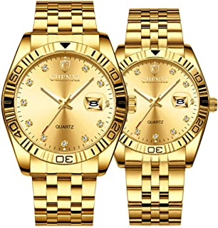 Couple Watches Dress Wrist Watch Golden Watch Men Women Stainless Steel Waterproof Quartz Watch Gift Set