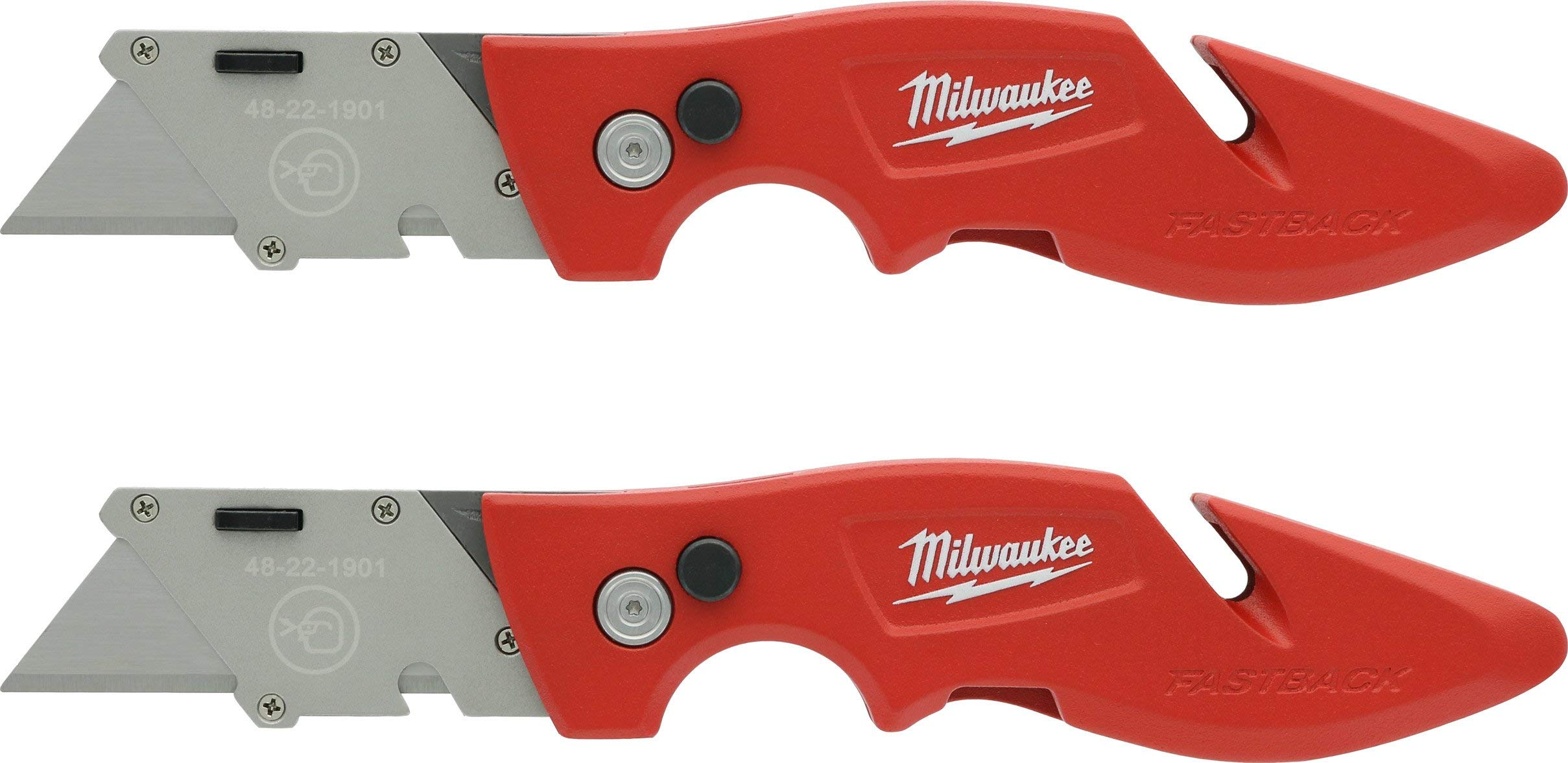 Amazon Com Milwaukee 48 22 1901f Fastback Utility Knife With Wire Stripping Compartment And Gut Hook 2 Pack Of 48 22 1901 Kitchen Dining