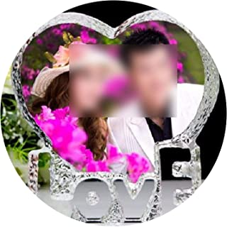 1010CM Souvenirs Custom Made Heart Crystal Photo Frame Glass Album for Pictures Frame Wedding Decoration Friends Unusual Gift,Colorful Print