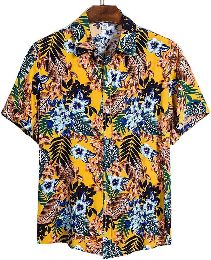 AAKKY 2pcs Men Summer Short Harajuku Sleeve Boston Mall Hawaiian Beach half Shirt