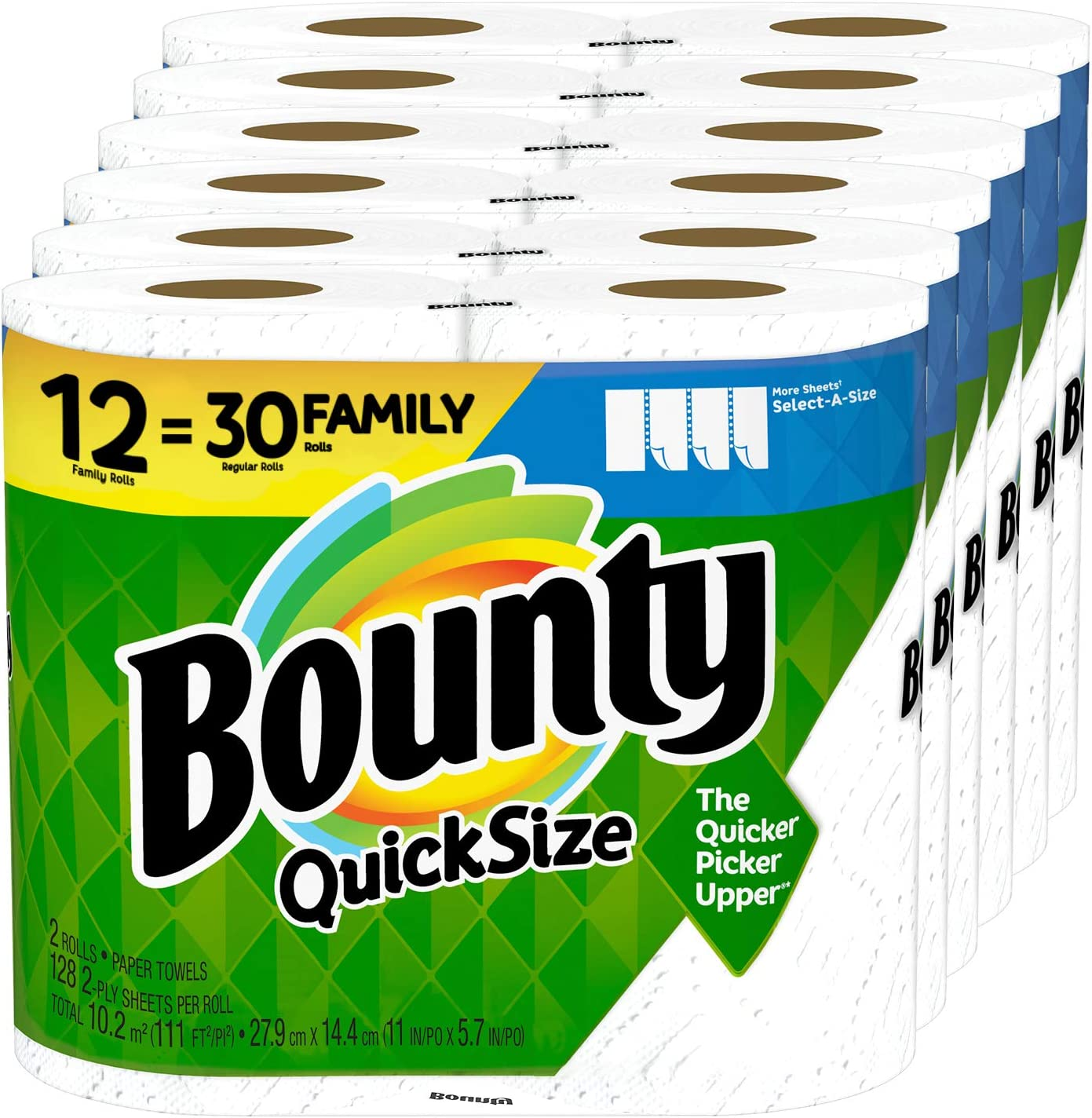 Amazon Com Bounty Quick Size Paper Towels 12 Family Rolls 30 Regular Rolls Health Personal Care