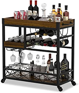 Ohsuaniy Bar CartIndustrial KitchenServing Cartsfor Home 3 Tier StorageTrolleywithWine RackGlasses HolderTwo Portable TraysUniversal Casters with Brakes Rustic Rolling Cart Alcoholic Beverage