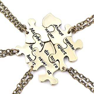 FJ Always Together Never Apart Puzzle Best Friends BFF Sister Necklace for 5