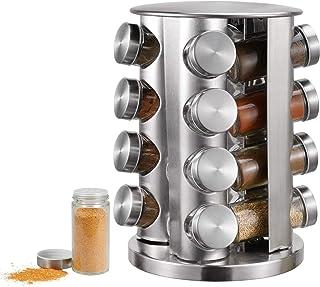 Étagère à épices avec 16 pots à épices - Support rotatif pour épices et épices