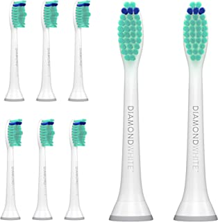 DiamondWhite Replacement Toothbrush Heads for Sonicare, Fits 2 Series, ProResults, FlexCare, Healthy White, Platinum, EasyClean, DiamondClean, Gum Health Models (8 Pack - White)